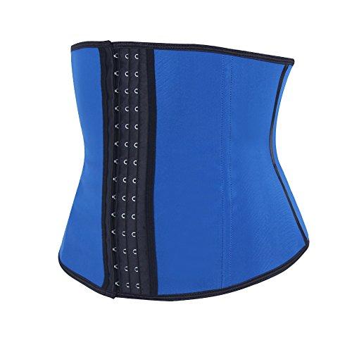 FeelinGirl Damen Korsett Corsage Waist-Trainer Cincher mit 4 Stahlstäbchen Dessous Lingerie Mieder Unterbrustkorsett Korsage Shapewear Blau