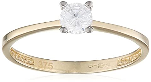 Citerna 9 ct Yellow Gold Engagement Ring with a Cz Stone in V Prong Setting