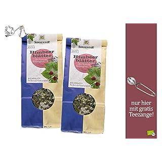 Sonnentor Tee: bio Himbeerblätter lose, 2er Pack Kräutertee (100 g) - 100 % BIO - 301 + gratis Teezange, Geschenkset