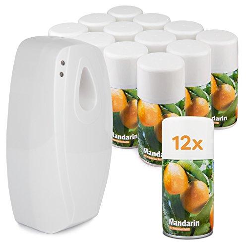 Spender für Lufterfrischer-Sprays - Starter-Pack / Einfach programmierbar / Lange Batterielebensdauer / 1 Lufterfrischer-Spender und 12 Sprays - Mandarin (Programmierbare Lufterfrischer)