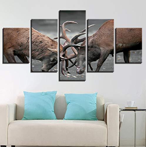 Leinwandbilder Für Wohnzimmer Wohnkultur 5 Stücke Tiere Geweih Hirsche Bilder Rahmen HD Drucke Dollar Poster Wand Art40x60 40x80 40x100