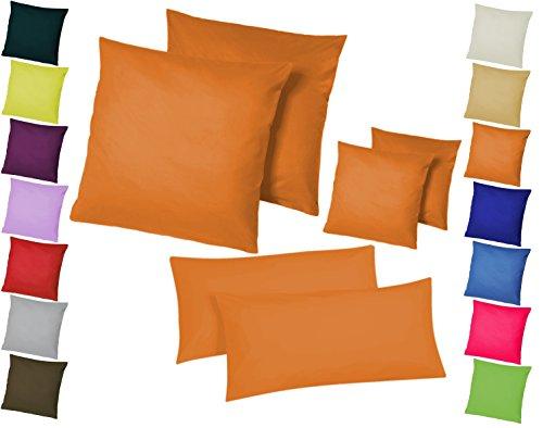 Home-Impression Doppelpack / 2er Set Microfaser Kissenhüllen/Kissenbezüge - Wohndekoration in schlichtem Uni Design mit Reißverschluss und in 3 Größen (40 x 40 cm, Orange)