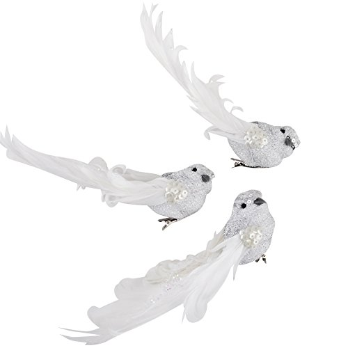 Dadeldo Vogel 3er Set Glitter Xmas Design Clip Deko Baumschmuck Weihnachten (4x18x8cm, Silber)