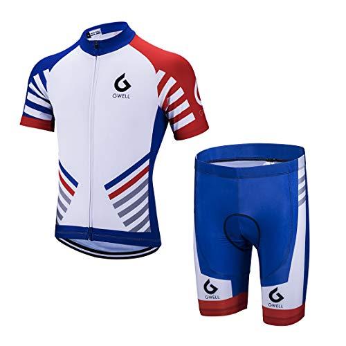 GWELL Herren Radtrikot Set Fahrrad Trikot Kurzarm + Radhose mit Sitzpolster Radsport-Anzüge Blau-1 3XL