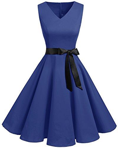 Royal Blau Formale Kleider (bridesmay 1950er V-Ausschnitt Kleid Vintage Cocktailkleid Rockabilly Retro Schwingen Kleid Faltenrock Royal Blue M)