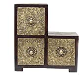 APKAMART Three Drawer Hand Crafted Brass Embellished Decorative Box For Table Decor And Giftsÿ