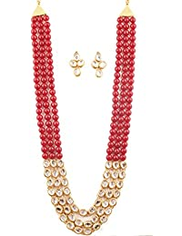 Touchstone Indian Kundan Polki Look Triple Line Faux Pearls Alloy Metal Jewelry Necklace Set In Antique Gold Tone...