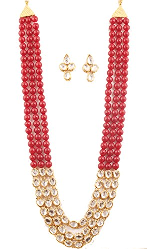"""Touchstone """"Contemporary Kundan Collection"""" Indian Bollywood Majestic Mughal Craftsmanship Kundan Look Identical Red Onyx Triple Line Strings Long Wedding Designer Jewelry Necklace Set In Antique Gold Tone For Women."""