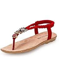 Tongshi Zapatos de las mujeres del Rhinestone Owl dulces sandalias del dedo del pie del clip playa de las sandalias
