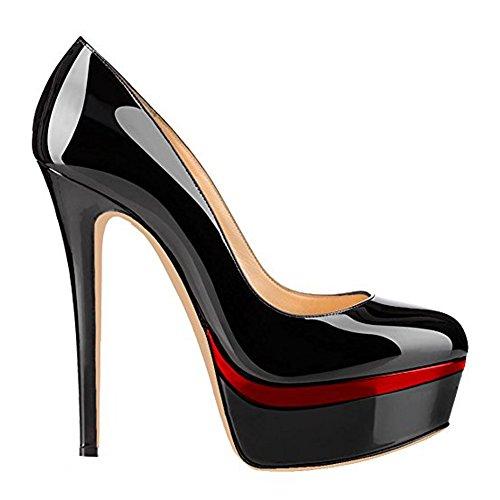 Damen Open Toe Plateau Stiletto High Heel Pumps Schluepfen Party Schuhe Schwarz-Rot