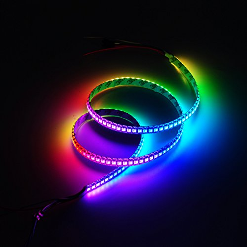 BTF-Lighting 144leds/pixels/m 1m WS2812B Black PCB Individual Addressable Full Color led pixel strip Dream Color Waterproof in silicon coating IP65