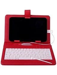 Mofun Coque en cuir rouge & # nitrure; & # enduit PU, Clavier USB élégant 17,8cm Support Étui Housse pour de 7pouces Samsung Galaxy Tab 2.0P3100P3110avec câble adaptateur OTG (sauf P1000)
