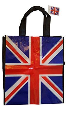–Einkaufstasche, wiederverwendbar,/British UK Souvenir/Great für Strand/Einkaufstasche/Picknick/rot weiß blau Flagge/schwarz Seiten/Nylon mit stabilem Stiche (Blaue Flagge Mit Weißem X)