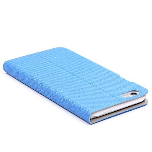 URCOVER Coque Portefeuille Ultra Fin pour Apple iPhone 6 6S   Cover Dure á Pochette en Marron   Housse Étui avec Rabat - Support - Slot Cartes Bleu clair
