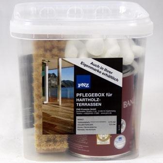PNZ Hartholz Pflegebox - zum Reinigen und Schützen von Terrassen aus Hart- oder Tropenholz, wie Bangkirai, Iroko, Sibirische Lärche