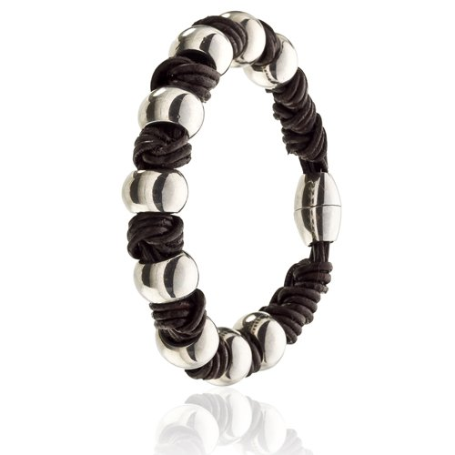 Janeo Men's Wristbands & Bangles Herren -  Leder  Braun       (7 Seide Falten Krawatte)