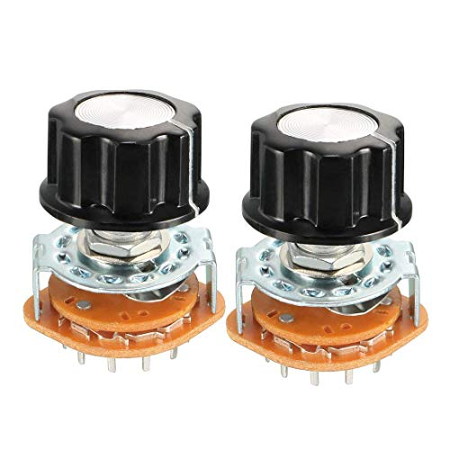ZCHXD 3P4T 3 Pole 4 Throw Single Deck Band Channel Rotary Switch Selector with Black Plastic Knob 2Pcs -