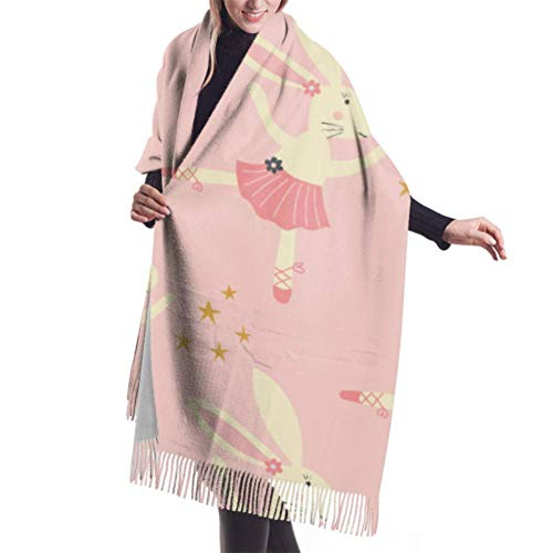 Irener Wickeldecke Schal, Womens Winter Scarf Cashmere Feel Bunny Ballerina Tutu Flowers Scarves Stylish Shawl Wraps Soft Warm Blanket Scarves For Women