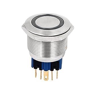 Anjo LED DealMux DC12V Blue Eye DPST pressão momentânea Button Switch 25 milímetros Dia