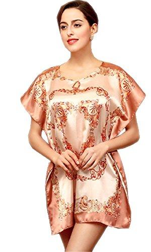 BigForest Damen Short Batwing Sleeve Pajama Satin Silk printed Negligee Nachtkleid set C1 (Empire Nightgown)