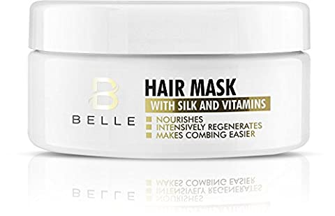 Belle® Hair Mask with Silk and Vitamins - Deep Repair Conditioner for dry, matte, damaged and brittle hair - reduces tendency to get split ends -smoothes the damaged hair structure and gives it glossy look - paraben free - 300