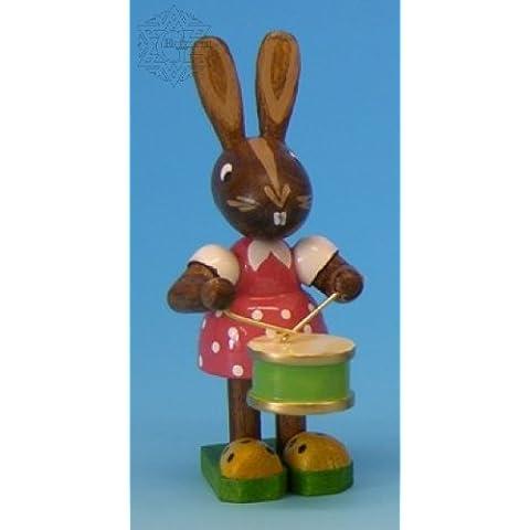 Original Erzgebirge Volkskunst - Figura decorativa de madera, diseo de conejo con tambor