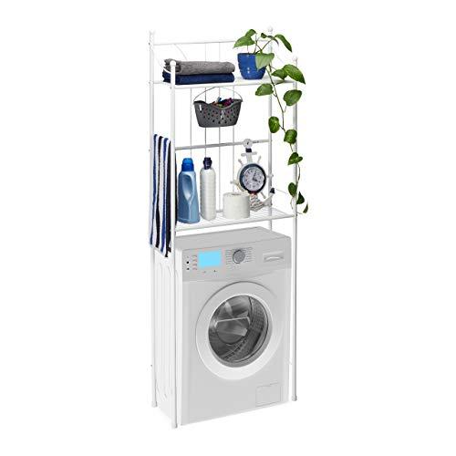 #Relaxdays WC Regal weiß mit 2 Ablagen, Überbauregal, Toilettenregal, für Waschmaschine, HBT: 166,5 x 59,5 x 26 cm, White#