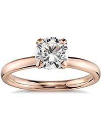 Lilu joyas 1ct. Quilate 3mm Moissanite anillo estilo Vintage en forma de Redondo en Plata de Ley 925chapada en oro rosa de 14K