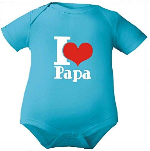 Petite Frimousse Body de bébé fille manches courtes garçon Motif Body pour bébé I love papa - Bleu - 3 ans