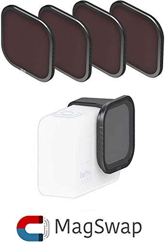 Fstop Labs Objektivfilter für GoPro Hero 8, Schwarz, mehrfach beschichtete Filter, Zubehör (4 Stück) ND8, ND16, ND32, Polfilter