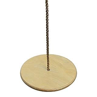 Pellor Kinder Holzrundscheibe Schaukelsitz Verstellbares Seil Tellerschaukel Hängesessel Swing Sitz Von Max Belastung 80kg (Holz-Naturfarbe)