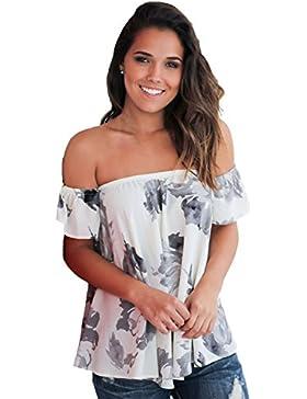 Camiseta de tirantes con diseño floral y floral para hombro, color blanco, talla XL