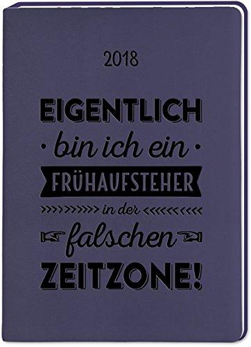 Aubergine (Frühaufsteher) A6 2018: Terminplaner in Lederoptik