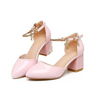 LvYuan Damen-Sandalen-Büro Kleid Lässig-Lackleder PU-Blockabsatz-Club-Schuhe-Rosa Weiß Pink