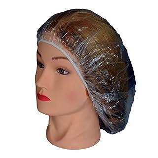 Haar-Duschhauben, aspro–Packung mit 100Stück Einweg PE–Material–Transparent