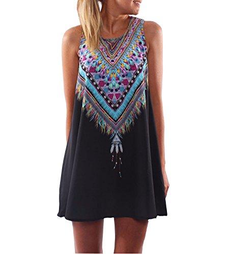 365-Shopping Damen Sommer Chiffon Kleider Sommerkleid Strandkleid Lose Minikleid Partykleider Top (XL (40-42), Typ 3)
