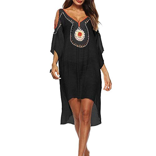 Beach Dress Badeanzug Bluse, Beach Set Damen Bikini-Bluse mit V-Ausschnitt, Casual Cotton Cold Shoulder Lace Crochet Badeanzug Beach Skirt Damen Bluse Bademode ( Color : Black , Size : One Size ) -