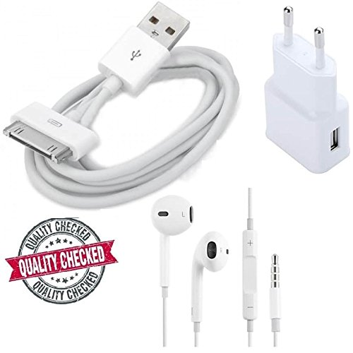 Apple Ipod CLASSIC 2ND GenCompatible Certified Set of Multipurpose Combo of Earphones (with mic), ChargeSync Cable & USB Adapter  available at amazon for Rs.369