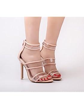 KHSKX-Verano Rosa 8.5Cm Zapatos Sandalias De Tacon Con Crystal Crystal Clear Super Talon Botas De Boca De Pescado...