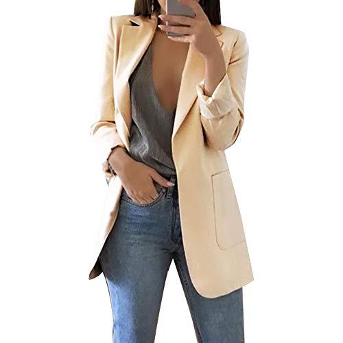 Vertvie Damen Blazer Elegant Cardigan Leicht Dünn Business Büro Jäckchen Einfarbig Casual Mantel Jacke(Khaki, EU 34/Tag S) -