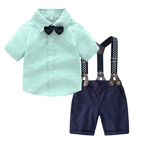 TTLOVE Kleinkind Baby Boy Bekleidung Gentleman Fliege T-Shirt Tops + Sterne Shorts Overalls Outfits Anzug Jungen Festliche Taufe Hochzeit FüR FrüHling Und Herbst (Grün,100)