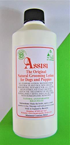 Assisi - Loción de perro de lino y rasguño, color gris Para perros y cachorros. Natural Safe tratamiento eficaz no tóxico. Botella de 500 ml.
