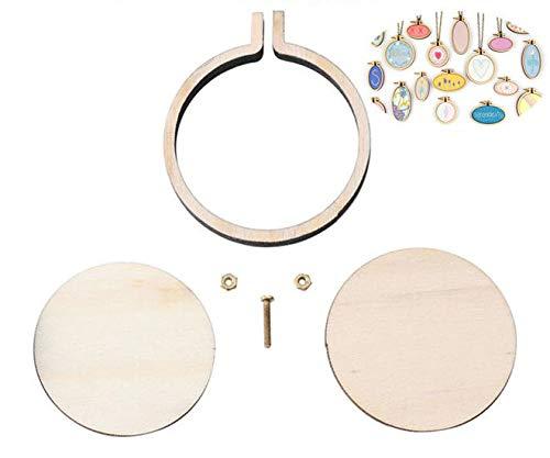 Natürliche Holz-Mini-Stickerei Schmuck Kleine Creolen-Anhänger Rahmen-Set Ringe DIY Kreuzstich-Nadel-Handwerk-Tools Dekor 5,7 cm 2.3
