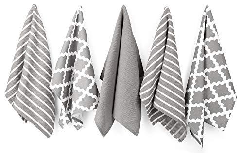 Penguin home 3051 100% set di 5design assortiti strofinacci, cotone, grigio, 65x 45x 0.5cm, asciugamano da 5 pezzi