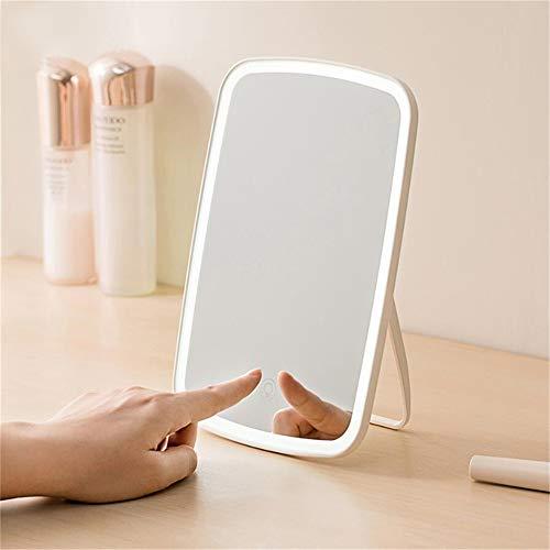 Original Xiaomi Mijia Espejo de maquillaje portátil inteligente Espejo de escritorio Luz LED portátil...
