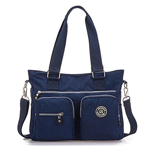 Tiny Chou Mehrzweck-Handtasche, wasserabweisendes Premium Nylon, Umhängetasche, Schultertasche für Damen, blau - marineblau - Größe: Small (Frühjahr Marineblau)