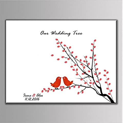 LUN Creative Wedding Fingerprint Tree Sign Pintura Firma Alternativa Guest Book Thumbprint Tree Poster, (pájaros del amor) Con 6pcs Tinta Pad ,