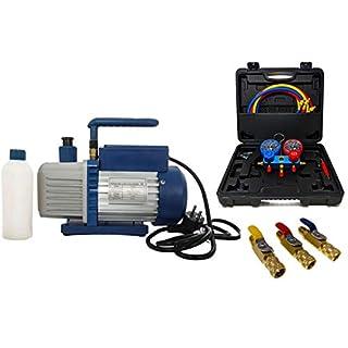 Vakuumpumpe Unterdruckpumpe 42L inkl. Monteurhilfe R410a / R32 + Kugelventile