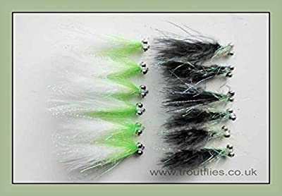 Cats Whiskers Trout Flies, 12 Black & White Shaggy Cats, Size 10, Fly Fishing from Troutflies UK
