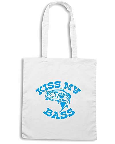T-Shirtshock - Borsa Shopping FUN1199 diecut vinyl fishing decal 07 34361 Bianco